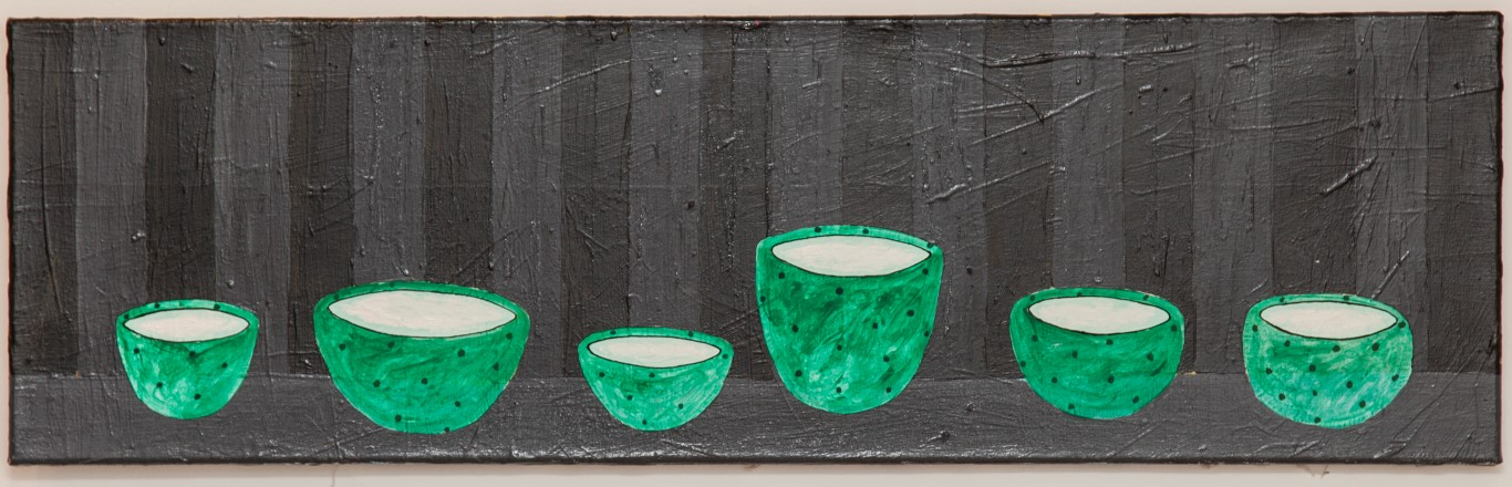 "Stephan Fritsch, ""Schüsseln"", 1990, Acryl auf Leinwand, 30 x 100 cm"