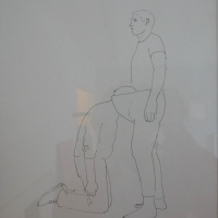 "Erwin Wurm, ""Looking for a bomb"", 2003, pen on paper, 29 x 21cm"