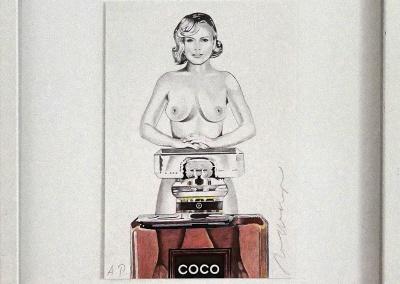 "Mel Ramos, ""Coco"", 2015, Farblithographie, 22,5 x 15,5 cm"