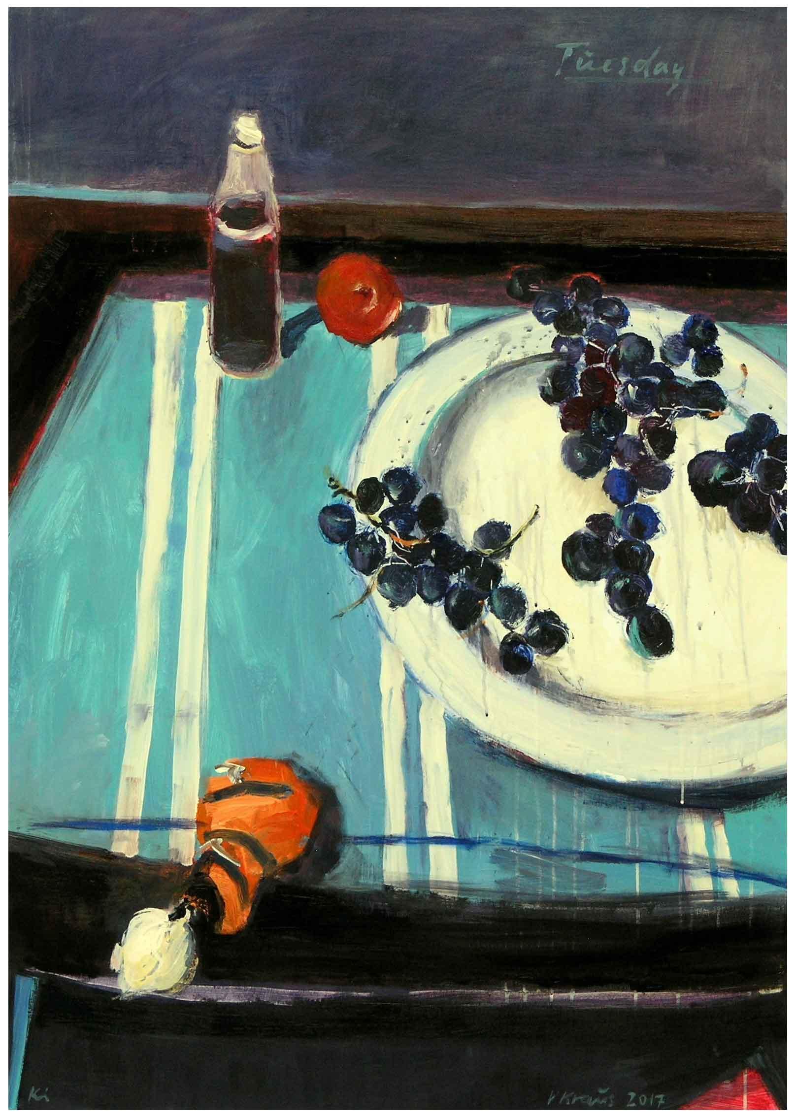 "Victor Kraus, ""Tuesday"", 2017, Acryl auf Leinwand, 140 x 100 cm"
