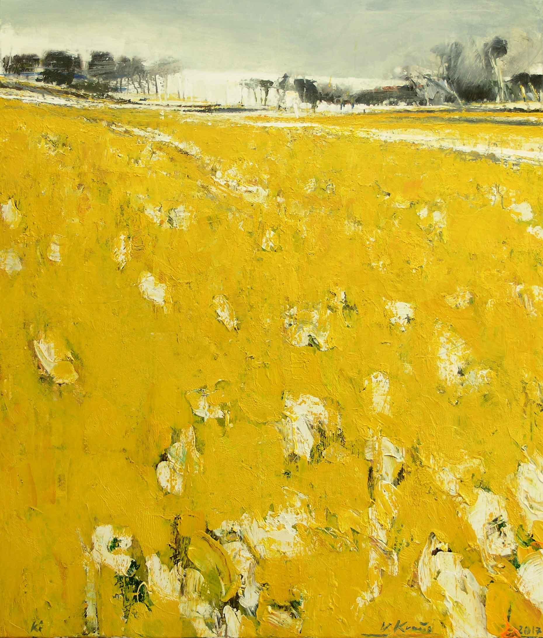 "Victor Kraus, ""Yellow Field I"", 2017, Acryl auf Leinwand, 140 x 120 cm"