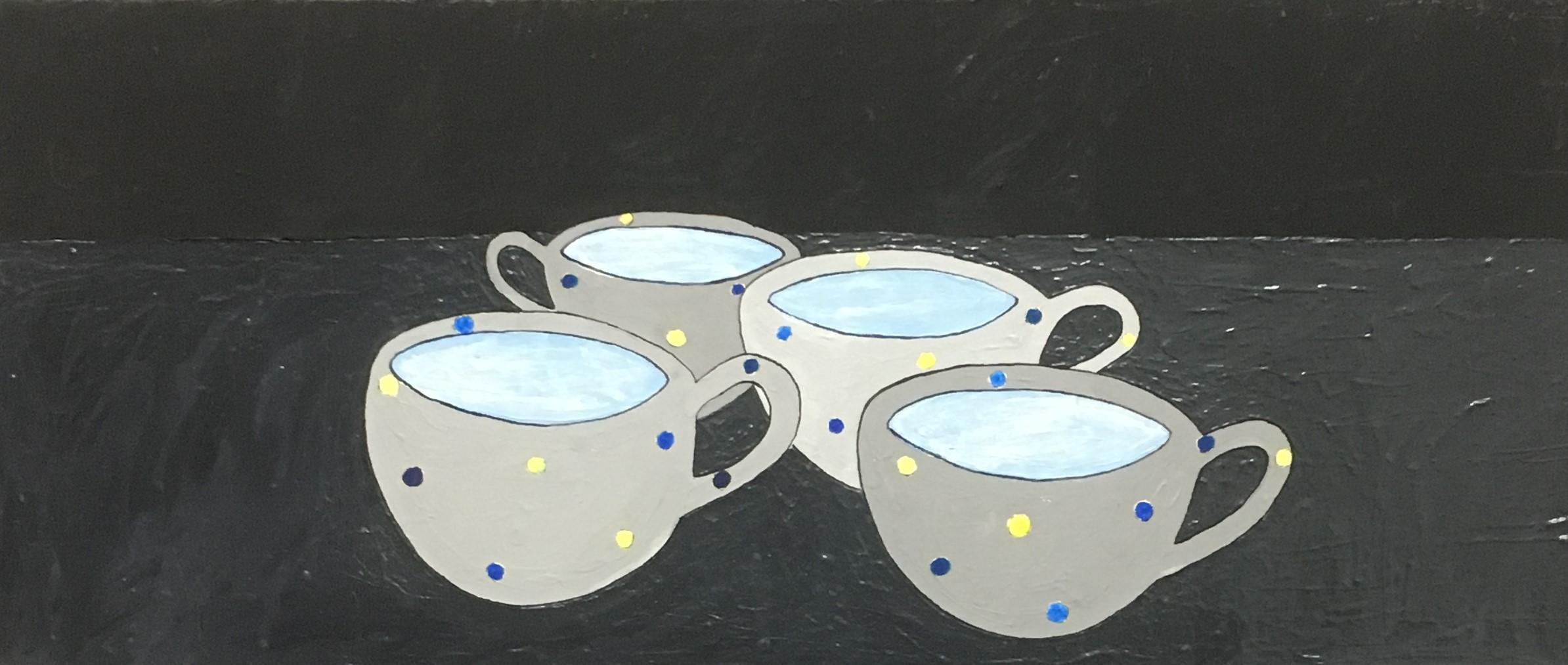 "Stephan Fritsch, ""4 Tassen"", 1991, Acryl auf Leinwand, 30 x 70 cm"