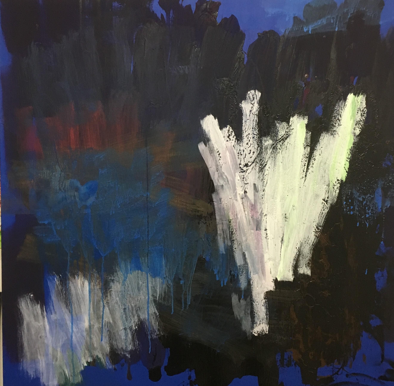"Stephan Fritsch, ""V."", 2010, Acryl auf Leinwand, 100 x 100 cm"