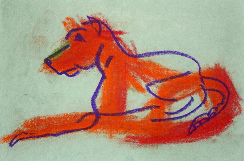 Freundlicher Wächter, 2013, Kreide auf Papier, 17,5 x 25,5cm