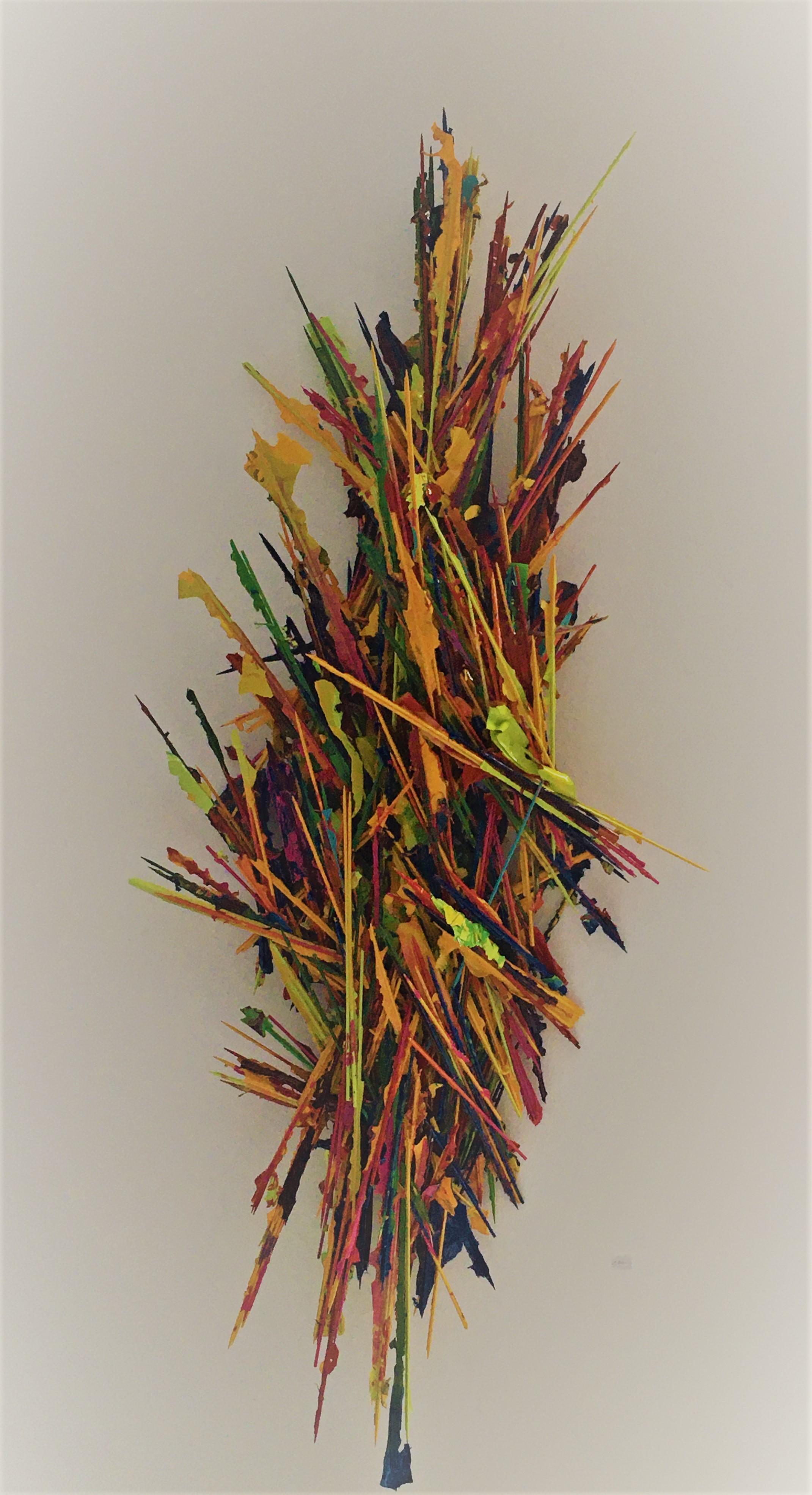 "Ariane Kipp, ""Wham"", 2019, Autolack auf Holz, 140 x 60 x 15 cm"